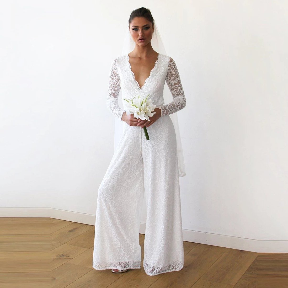 Ivory Long Sleeves Wedding Lace Jumpsuit 1169 - Blushfashion