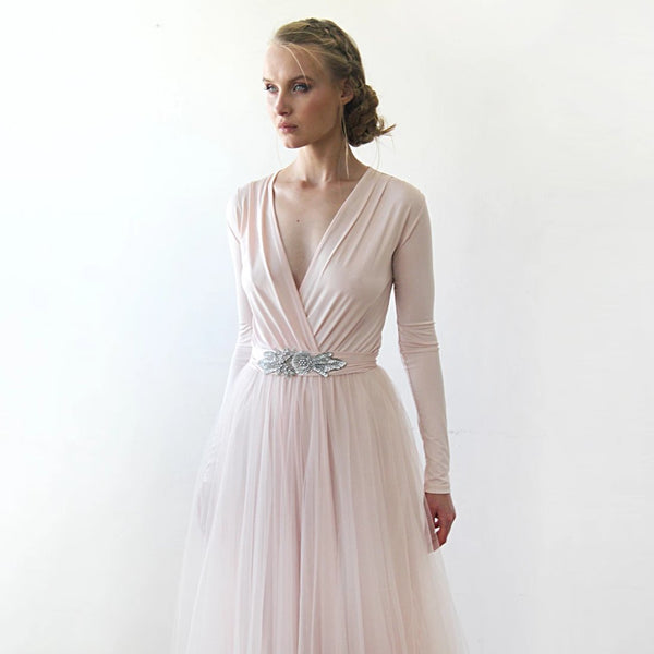 baby Pink Formal Maxi Dress, Wrap Dress With Tulle, Bridesmaids Dress With embellished sash 1204