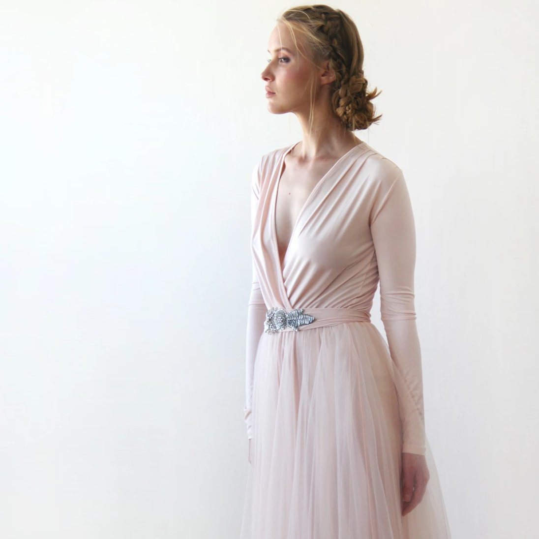 baby Pink Formal Maxi Dress, Wrap Dress With Tulle, Bridesmaids Dress With embellished sash 1204 - Blushfashion