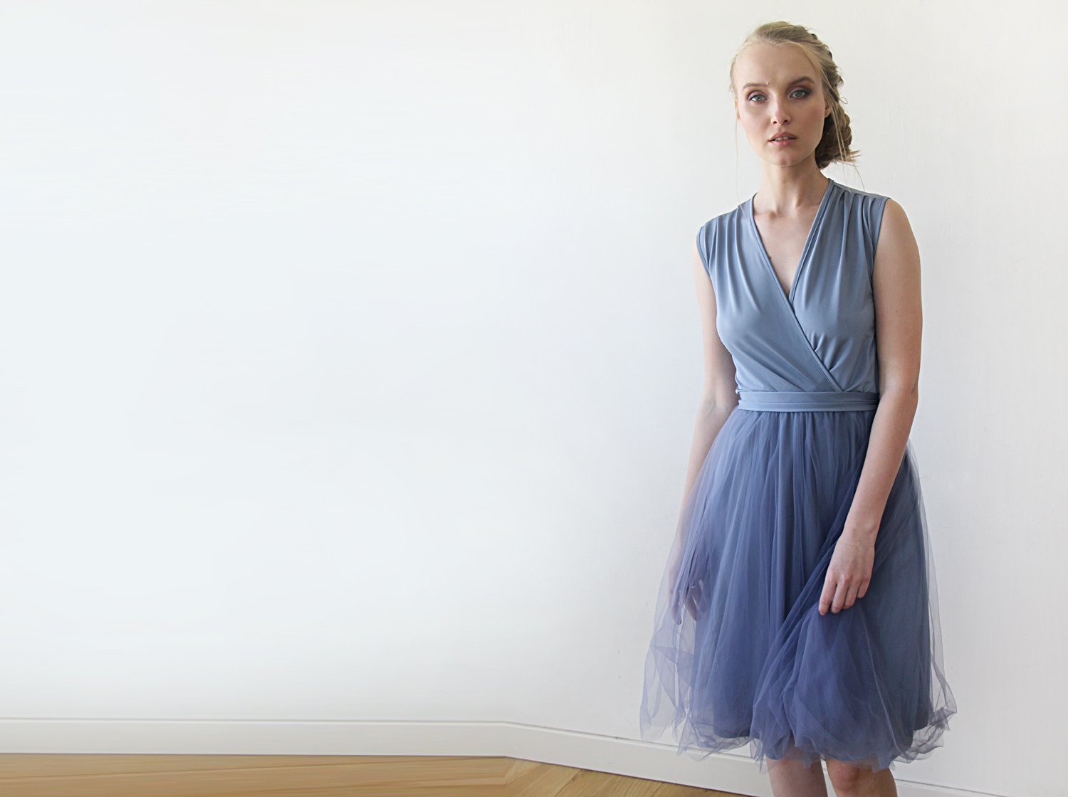 Dusty Blue Decorated tulle sleeveless Dress With Decorated Belt SALE 1082