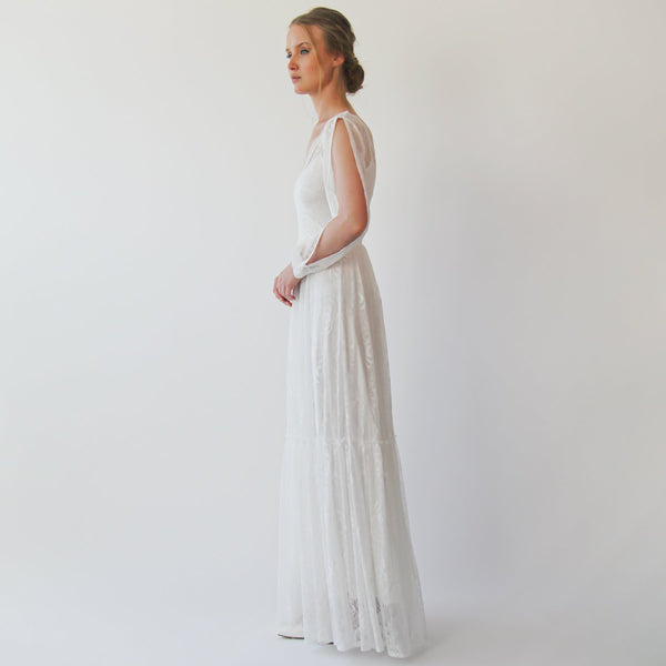Bishop with a slit sleeves Ivory Wedding dress #1260