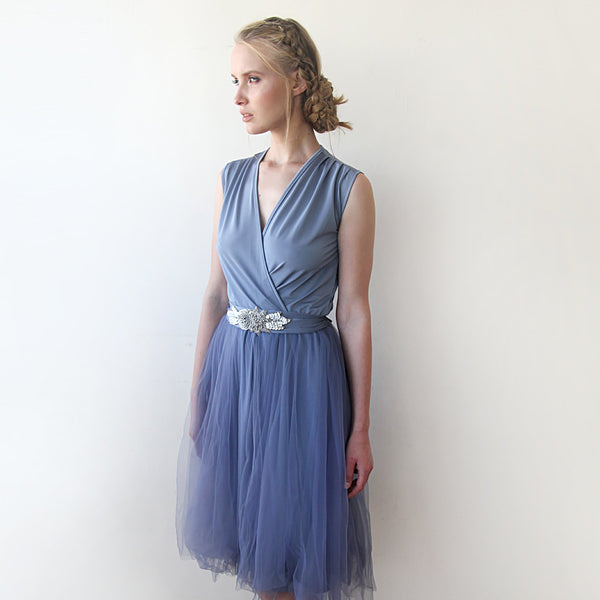 Dusty Blue Decorated tulle sleeveless Dress   #1082