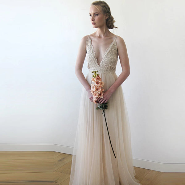 Champagne Wedding Dress, Second Wedding Dress, Spaghetti Straps Lace And Tulle Dress, Summer Wedding Dress 1205