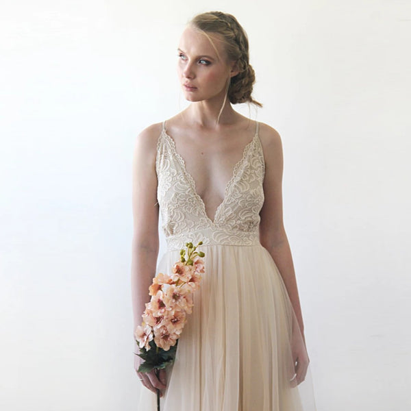Champagne Wedding Dress, Second Wedding Dress, Spaghetti Straps Lace And Tulle Dress, Summer Wedding Dress 1205 - Blushfashion