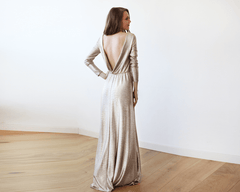 Light Gold Backless Maxi Dress with long sleeves 1097