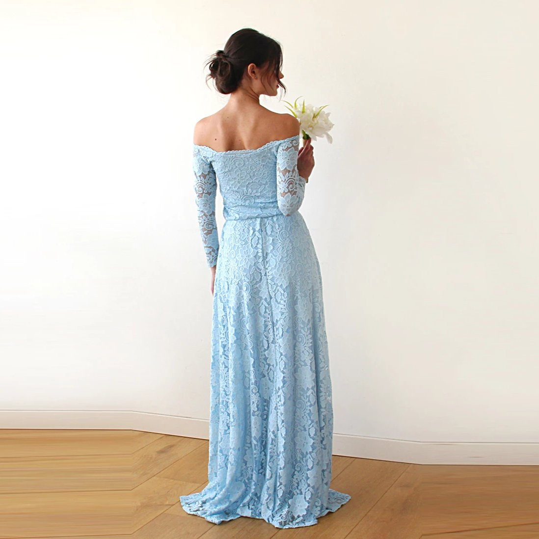 Light Blue Off-The-Shoulder Floral Lace Long Sleeve Maxi Dress 1119 - Blushfashion