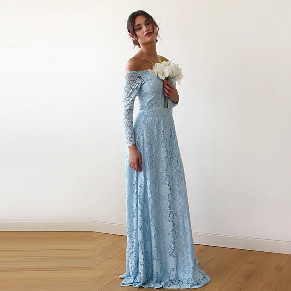 Light Blue Off-The-Shoulder Floral Lace Long Sleeve Maxi Dress 1119