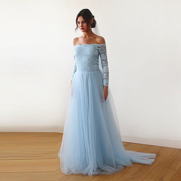 Light blue  Off-The-Shoulder Dress  Train   #1162