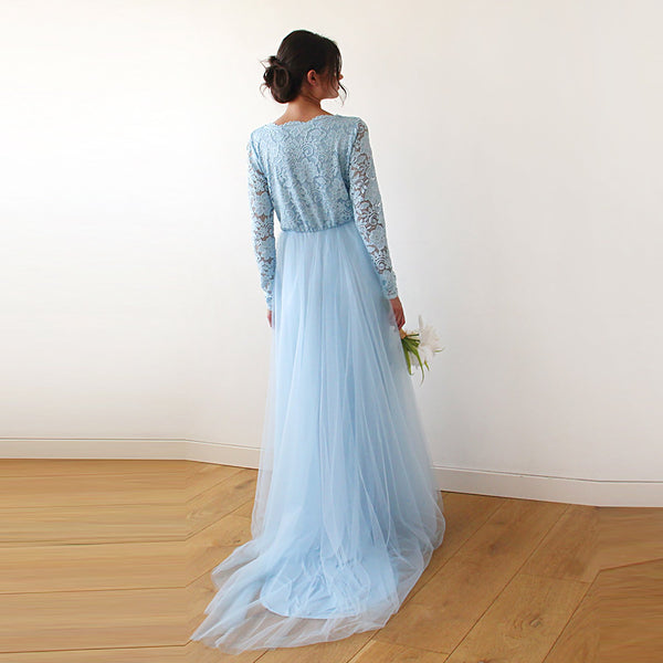 Light Blue Tulle and Lace Dress with Train  #1164