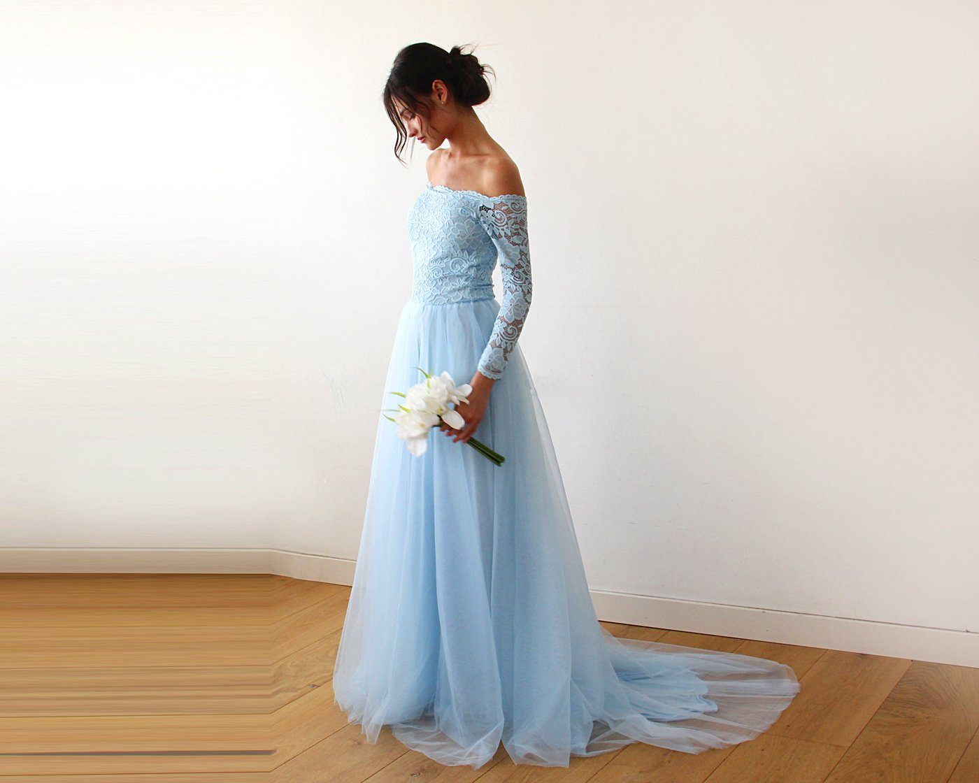 Light blue  Off-The-Shoulder Lace and Tulle Train Wedding Gown 1162 - Blushfashion