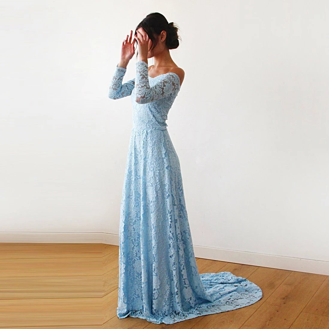 Light Blue Off-The-Shoulder Floral Lace Long Sleeve Gown With Train 1148 - Blushfashion