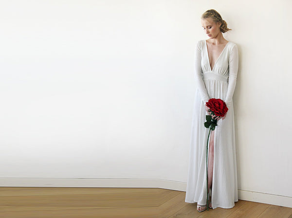 Sexy Wedding Dress With A Deep-V Neckline, Ivory Maxi Formal Dress, Shimmering Ivory Maxi Dress With A Slit 1199