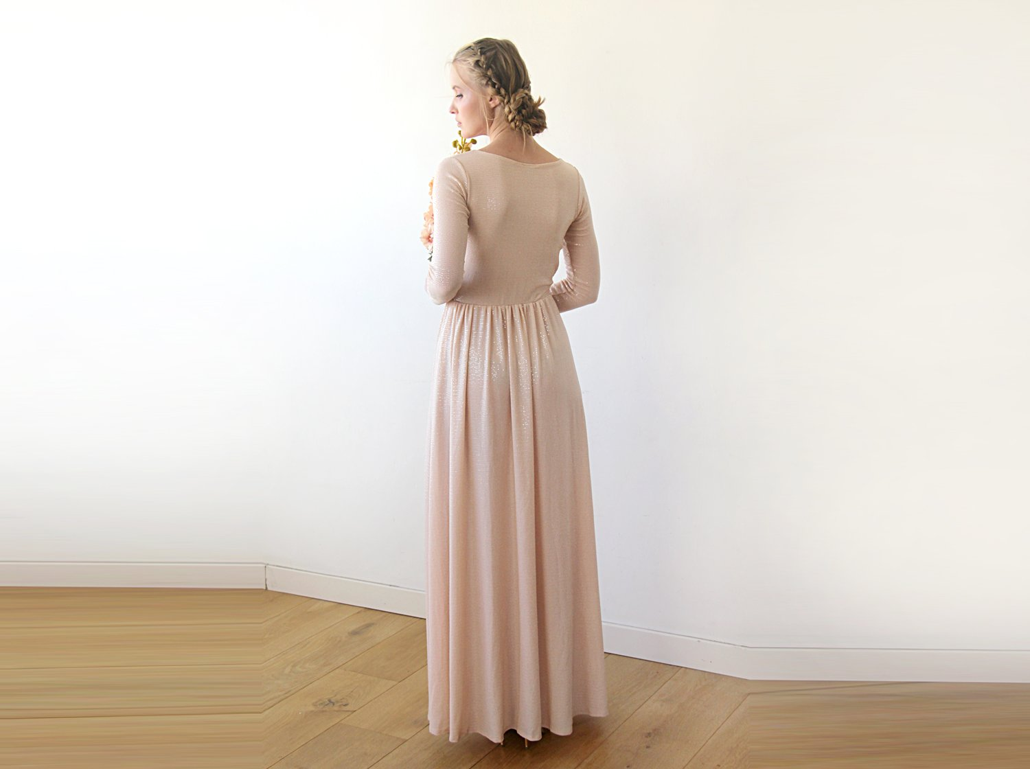Blush shimmering dress , deep-v neckline dress with a sexy slit , long sleeves formal dress, pink bridesmaids dress 1199 - Blushfashion