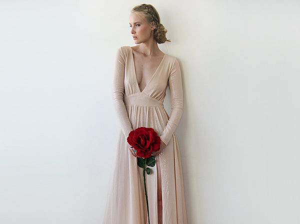 Blush shimmering dress , deep-v neckline dress with a sexy slit , long sleeves formal dress, pink bridesmaids dress 1199