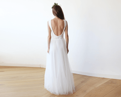 Sleeveless Ivory Sequins Tulle Maxi Dress with Open-Back 1099