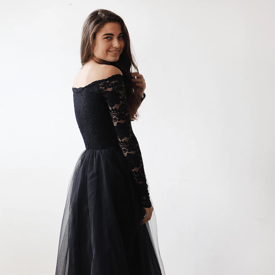 Black Off-The-Shoulder Lace and Tulle Maxi Dress  1134 - Blushfashion
