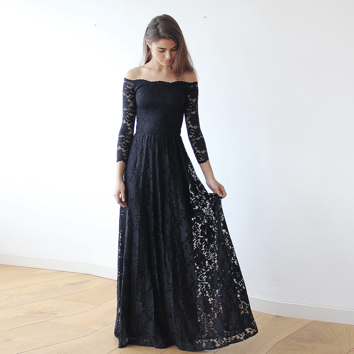 45e0c9fd4d4711 Off-The-Shoulder Black Floral Lace Long Sleeve Maxi Dress 1119 -  Blushfashion ...
