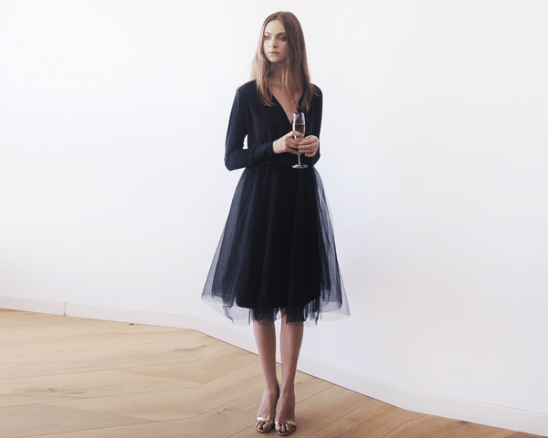 Black midi tulle dress with long sleeves