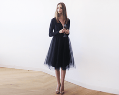 Black midi tulle dress with long sleeves 1068