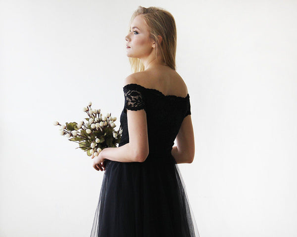 Black Off-the-Shoulders Tulle & Lace Midi Short Sleeves Dress