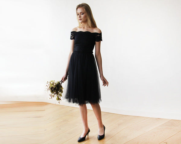 Sale Black Off-the-Shoulders Tulle & Lace Midi Short Sleeves Dress SALE 1153