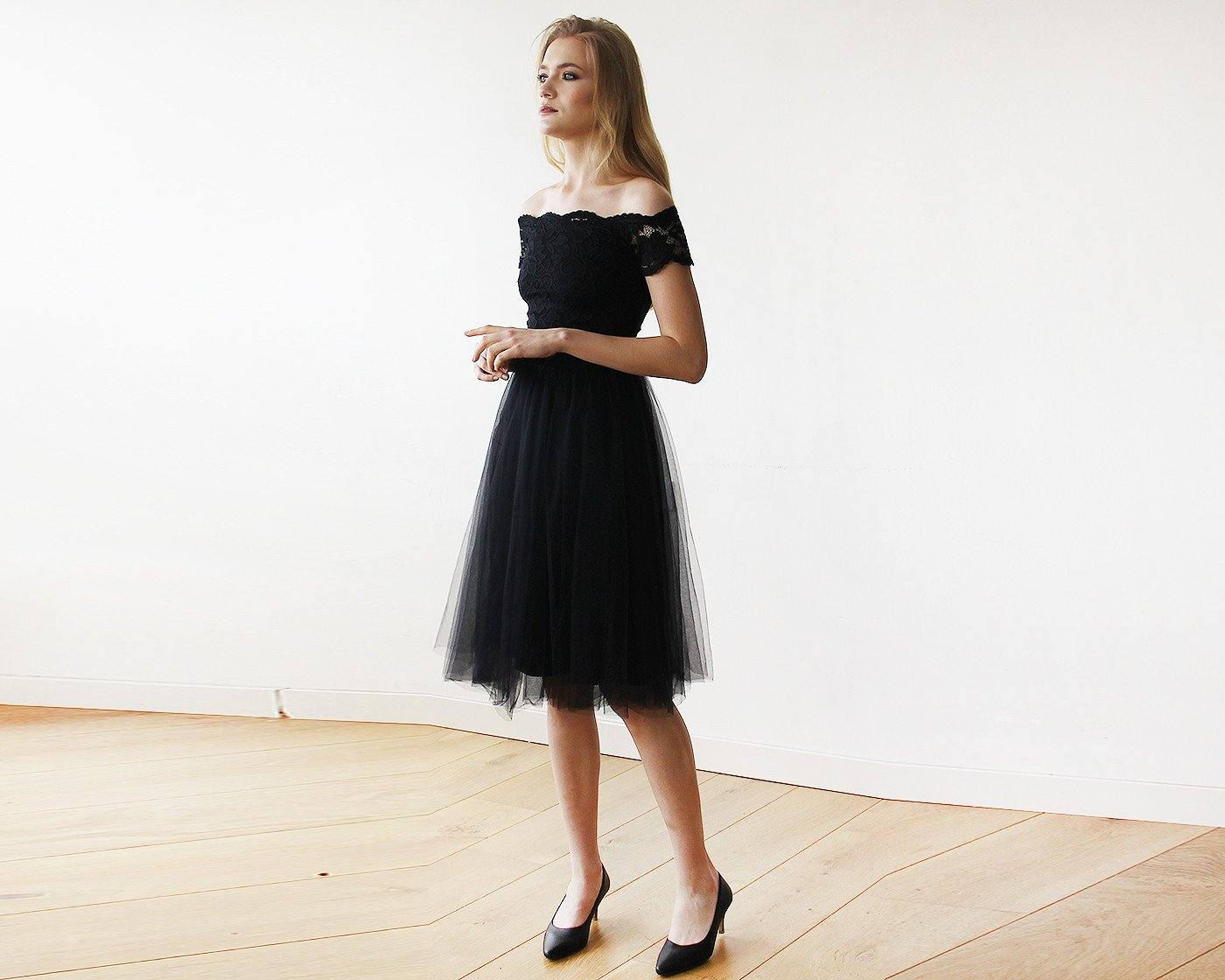Sale Black Off-the-Shoulders Tulle & Lace Midi Short Sleeves Dress SALE 1153 - Blushfashion