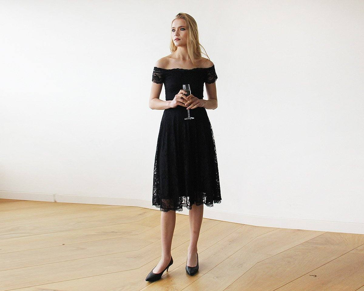 Off-The-Shoulder Short Sleeves Black Lace Midi Dress 1158 - Blushfashion