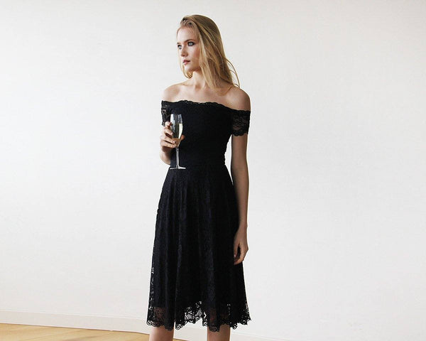 Off-The-Shoulder Short Sleeves Black Lace Midi Dress 1158