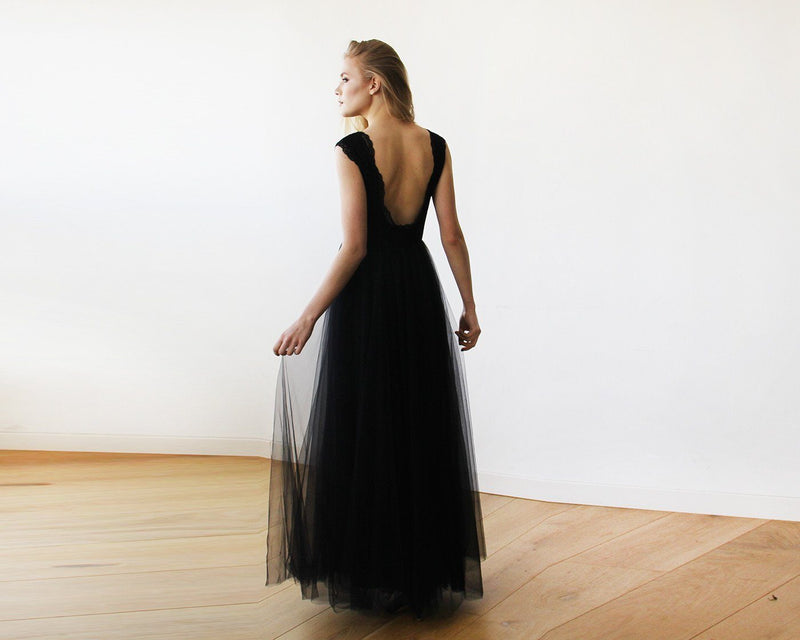 Black Tulle and Lace Sleeveless Maxi Gown #1145
