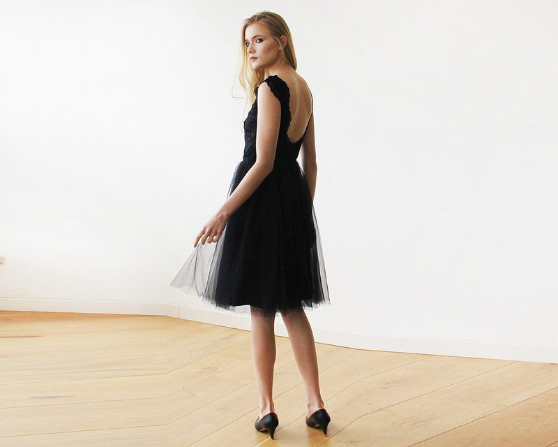 Lace And Tulle Black Sleeveless Midi Dress  #1159