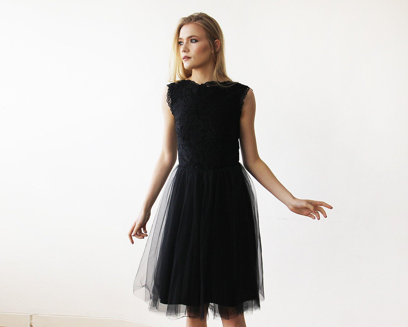 Lace And Tulle Black Sleeveless Midi Dress 1159 - Blushfashion
