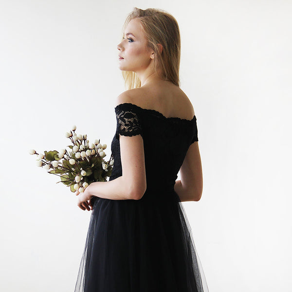 Sale Black Off-the-Shoulders Tulle & Lace Midi  Dress #1153