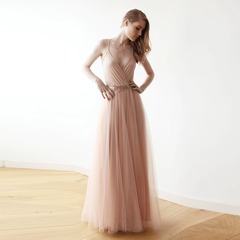 Pink wrap straps maxi tulle dress 1053 - Blushfashion