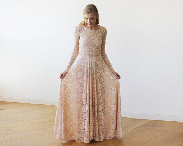 0a5b19c3793 ... Round Neckline Pink Lace Dress With Long Sleeves 1147