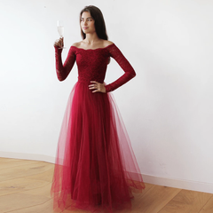 Off-The-Shoulder Burgundy Lace and Tulle Maxi Dress 1134 - Blushfashion