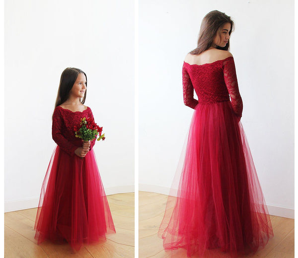 Off-The-Shoulder Burgundy Lace and Tulle Flower Girls Gown 5040