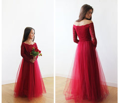 Off-The-Shoulder Burgundy Lace and Tulle Flower Girls Gown 5040 - Blushfashion