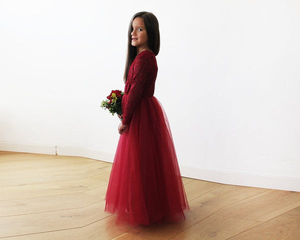 Burgundy Tulle and lace long sleeves Flower Girls Gown 5043