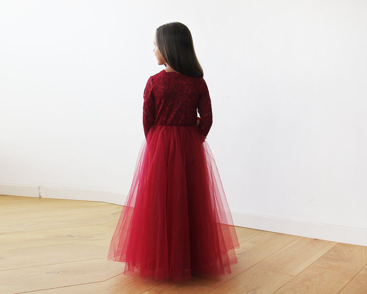 Burgundy Tulle and lace long sleeves Flower Girls Gown 5043 - Blushfashion