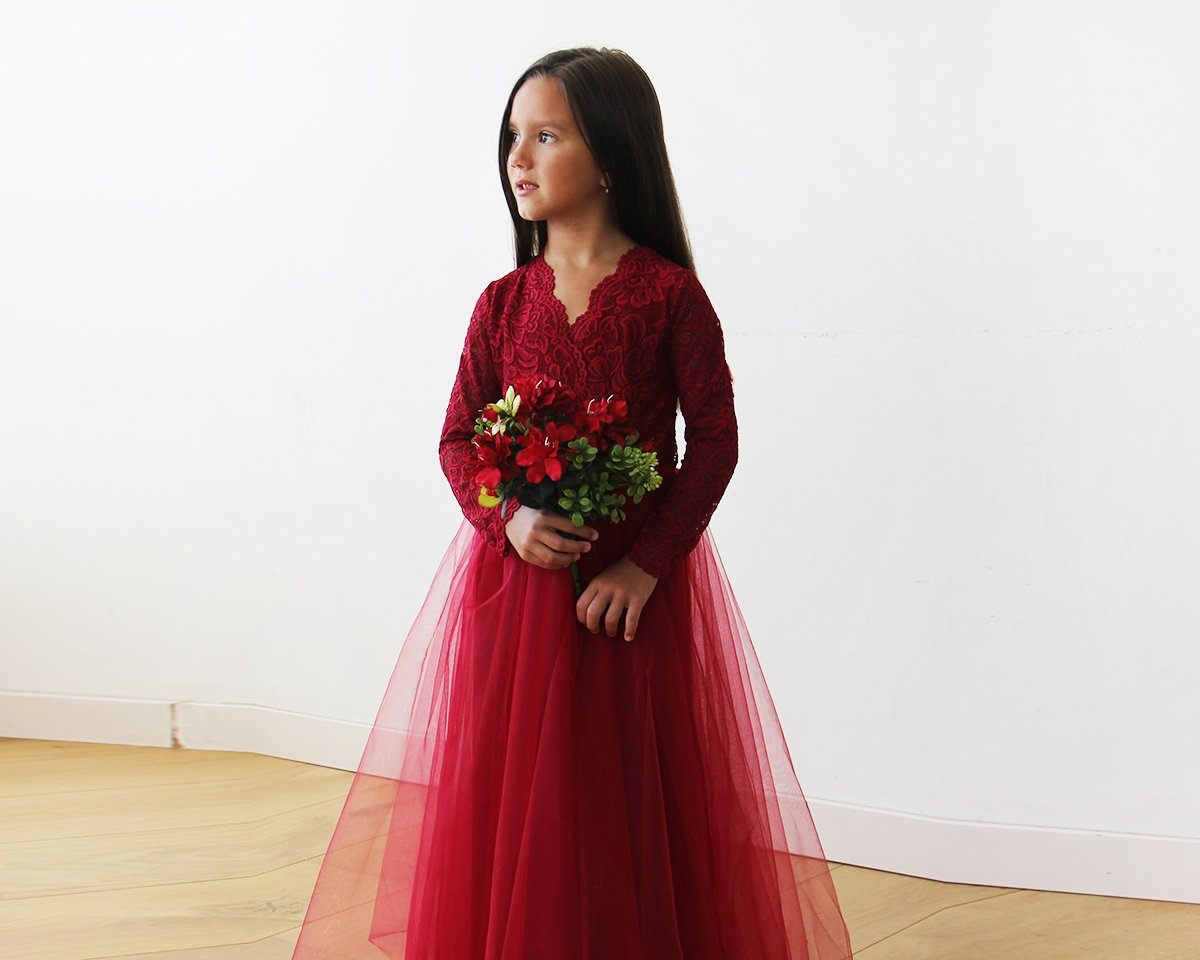 Flower Girl Dresses for winter- red dress with tulle