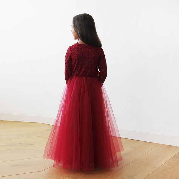 Burgundy Tulle & lace long sleeves Flower Girls Gown #5043
