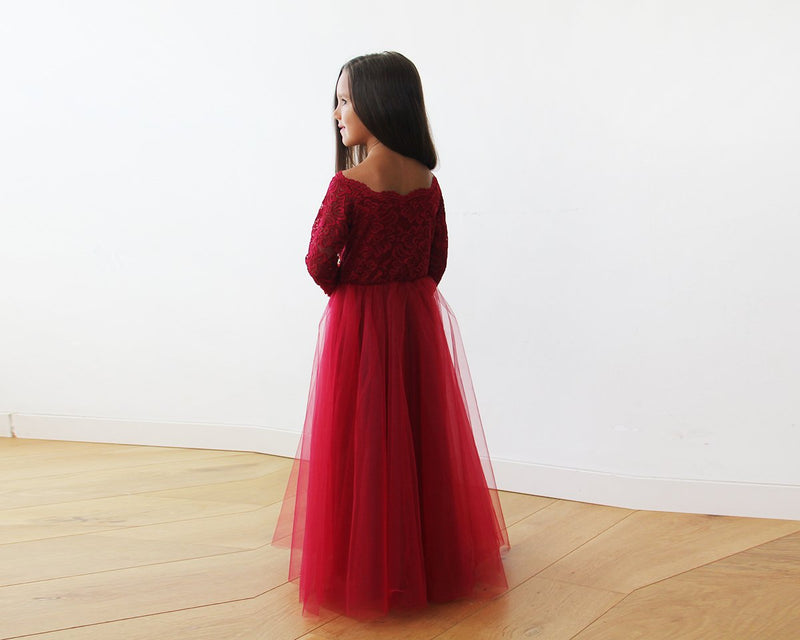 Mini Me Collection Off-The-Shoulder Burgundy Lace & Tulle gown #1134