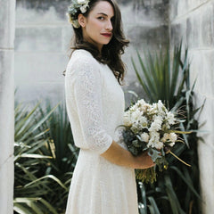 Ivory 3/4 sleeves lace bridal top , Ivory lace top 2025 - Blushfashion