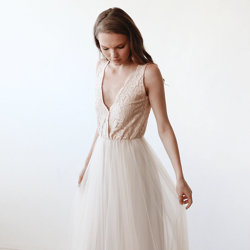 Champagne Tulle and Lace Wedding Gown 1113 - Blushfashion