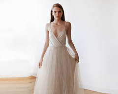 Champagne wrap maxi tulle dress 1053 - Blushfashion