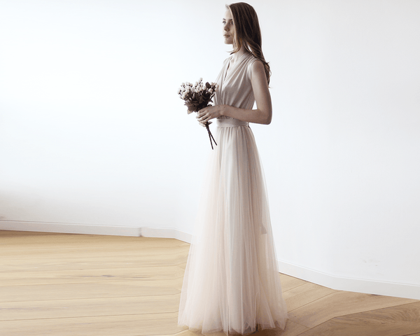 Champagne maxi tulle sleeveless dress 1076