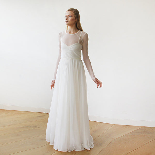 Ivory Chiffon Round Neckline Bridal Dress  #1102