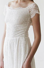 Ivory Off-The-Shoulder Short Sleeves Lace Midi Dress 1158