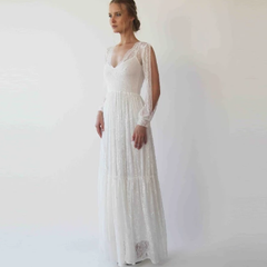 Bishop with a slit sleeves dress,lace bohemian wedding dress, Ivory vintage style dress 1260