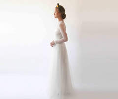 Illusion chiffon neckline, Ivory Lace and Tulle wedding dress 1225